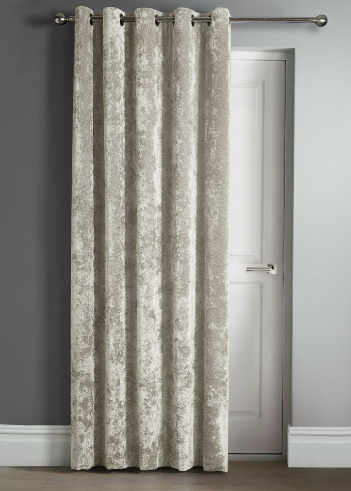 "Contemporary Crushed Velvet Ring Top Eyelet One Door Curtain Panel, 46"" X 84"" Natural"